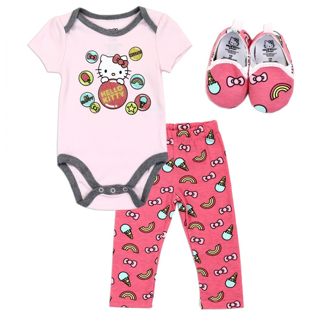 cf54689a5 Hello Kitty 3 Piece Baby Girls Onesie Pants And Baby Shoes Free Shipping  Houston Kids fashion. Loading zoom