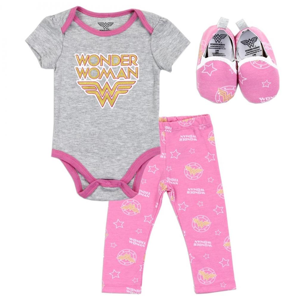 5501c28a0 DC Comics Wonder Woman Baby Girls 3 Piece Set Free Shipping Houston Kids  Fashion Clothing Store. Loading zoom