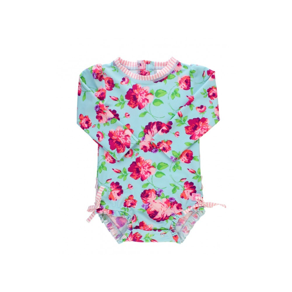 Rufflebutts Life Is Rosy Floral Print Rash Guard Swimsuit Free