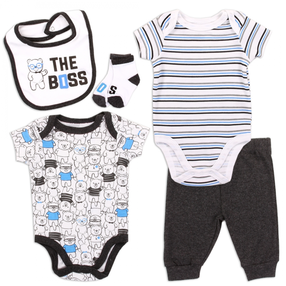 Baby Boys Jigsaw 5 Piece Summer Layette Clothing Gift Set 0-3 Months